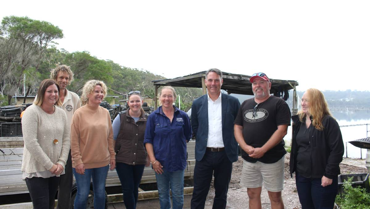 Eden-Monaro MP Kristy McBain and Deputy Opposition Leader Richard Marles meet with oyster farmers and representatives on Tuesday.