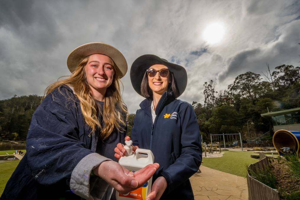 Launceston's Kate von Stieglitz, pictured with Cancer Council Tasmania's Ella French at Cataract Gorge, says she learnt the hard way that everyone is vulnerable to skin cancer. Picture: Phillip Biggs