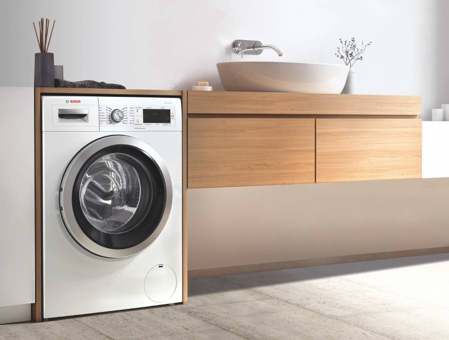 ECOMONICAL: The Bosch Series 8 8-kilogram front load washing machine is a great example of a water-efficient appliance for your laundry. Photo: Supplied.