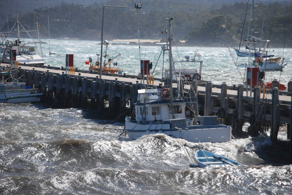 November 3, 2013: 76-knot gale force winds hammer the Snug Cove port precinct, causing the trawler Mark M to break free and run aground.